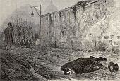 Antique illustration of Marsal Ney executed by a firing squad in Paris. Original, created by Gerome,