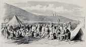 Old illustration of Algerian people registration at Tagarin centre for beggars. By Pauquet and Dutheil-Ecossefil, after photo of Portier, published on L'Illustration, Journal Universel, Paris, 1868