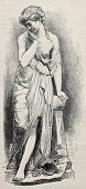 Old illustration of the Broken Jug, marble statue sculpted by Carlier. Drawing by unknown author, published on L'Illustration, Journal Universel, Paris, 1868