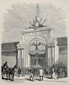 Antique illustration of main gate of  Le Havre international maritime exposition, France. Created by Blanchard, published on L'Illustration, Journal Universel, Paris, 1868