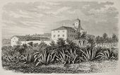 Old illustration of Ben Aknoun orphan asylum, near Algiers. Created by Gaildrau and Cosson-Smeeton, published on L'Illustration, Journal Universel, Paris, 1868