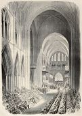 Prince of Wales investiture as Knigth of Saint-Patrick in Dublin cathedral. By Janet-Lange and Cosson-Smeeton, after sketch of Tomsohn, published on L'Illustration, Journal Universel, Paris, 1868