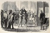 Old illustration of Thaddeus Stevens helped to enter U.S. House of Representatives. Created by Janet
