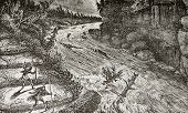Old illustration of Montmorency rivers rapids, Canada. Original, by unknown author, was published on