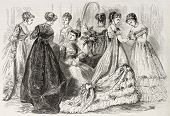 Old illustration of evening and dance wear in 1868, Paris. Created by Pauquet, published on L'Illust