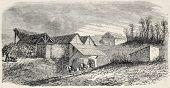 Antiga ilustração de pedreiras de Buttes Chaumont, conhecido como foi Carrieres, 19º arrondissement, Pa