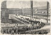 Old illustration of Daniele Manin's funeral, Italian patriot. Venice, Italy. Created by Blanchard an