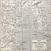 Old Yellow sea coast map. Created by Erhard and Bonaparte,  published on Le Tour du Monde, Paris, 1864