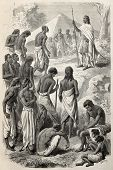 Old illustrations of Abyssinian Emperor Tewodros giving a hearing to insurgents people. Created by J