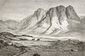 Old illustration of Saint Catherine's Monastery at the foot of Mount Sinai, Egypt. Created by Pottin