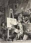 Old illustration of painter workshop. Engraved by Dutheil-Ecosse, after tablet of Boucher in Khalil-
