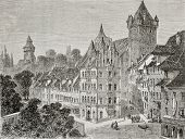 Antique illustration of Panierplatz in Nuremberg, Germany. Created by Therond, published on Le Tour du Monde, Paris, 1864