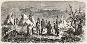 Old illustration of Sioux encampment. Created by Lancelot, after sketch of De Girardin, published on Le Tour du Monde, Paris, 1864