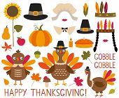 Thanksgiving And Fall Decoration Set (turkeys, Pumpkins, Pilgrim Hats) poster
