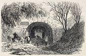 Old illustration of  Buttes Chaumont quarries entrance, 19th arrondissement, Paris. Created by Gaildrau, published on L'Illustration, Journal Universel, Paris, 1868