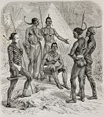 Native Africans of  right bank of white Nile, Sudan. Created by Castelli, published on Le Tour du Monde, Paris, 1864