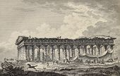Lateral view of the temple of Segesta, Sicily. By Desprez, Berteaux and De Ghendt, published on Voyage Pittoresque de Naples et de Sicilie,  J. C. R. de Saint Non, Imprimerie de Clousier, Paris, 1786