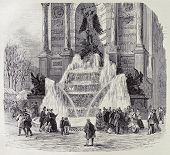 Antique illustration of water frozen in Saint Michel fountain, Paris. From drawing of Provost, published on L'Illustration, Journal Universel, Paris, 1868