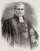 Old engraved portrait of Athanase Laurent Charles Coquerel, French protestant theologian. Created by