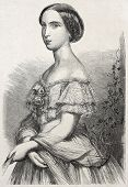 Old engraved portrait of Princess Charlotte of Belgium. Created ny Schubert, published un L'Illustra