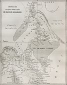 Old map of explorers Speke and Grant itinerary from Kazeh (nowadays Tabora, Tanzania) to Gondokoro (