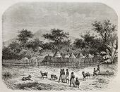 Old illustration of King's Ukulima village, Tanzania. Created by De Bar, published on Le Tour du Mon