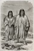 Old illustration of Antis natives, Peruvian indigenous. Created by Riou, published on Le Tour du Mon