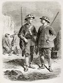 Old illustration of King's of Taiping body guards. Created by Bayard after watercolour of Scarth, published on Le Tour du Monde, Paris, 1864