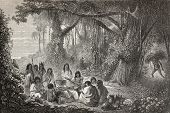 Old illustration of a group of natives Peruvian cooking on the bonfire. Created by Riou, published o