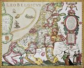 Leo Belgicus: Belgium and Netherlands old map in the form of a lion. Created by Pieter van der Kerre