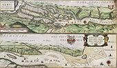 Old map of Elbe river and Hamburg port from the Atlas Appendix. Created by Willem Blaeu, published in Amsterdam, 1630