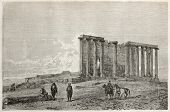 Old illustration of Zeus and Cybele temple, view from north side, Aizani, Turkey. Created by Gaiaud,