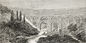 Old illustration of aqueduct over Meles river, near Smyrne (present days Izmir), Turkey. Created by