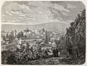 Old view of Bursa, Turkey, with mosque and sultan's Mourad grave. Created by Gaiaud, published on Le
