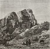Old illustration of a Phrygian tomb excavated in the rock, near Harmancik, Marmara region, Turkey. C