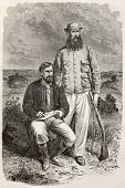 Old engraved portrait of Captain Grant and Captain Speke, famous explorers. Created by Bayard, publi