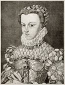 Old engraved portrait of Elizabeth of Austria, queen of France. Created by Gagniet after painting of