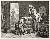 Old illustration of a laundress. Created by Bocourt after Chardin, published on Magasin Pittoresque,