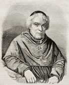 Old engraved portrait of Jean-Baptiste Girard (known as Pere Girard), Swiss Franciscan pedagogist. B