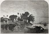 Old illustration of Hoogly river near Calcutta. Created by Anastasi after Berard, published on L'Ill
