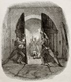 Old illustration of British soldiers closing door in Hougmount castle, defending from French attack