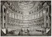 Old illustration of Royal Opera of Versailles. Created by Davioud, published on Magasin Pittoresque,