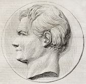 Old illustration of a commemorative medallion depicting Henri Marie Ducrotay de Blainville, French z