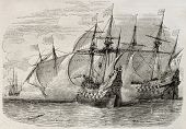 Old illustration of sea battle between French and British ships during the siege of La Rochelle. Cre