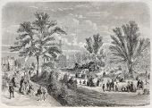 Old illustration of Square du Temple (Temple garden) in Paris. Created by Provost, published on L'Il