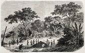 Vieja ilustración de almacenamiento de coque en la isla de príncipe.  Creado por Pauquet, publicado en L'Illustration