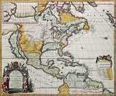 North America old map. Created by Louis Hennepin, published in Amsterdam, 1698