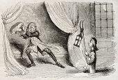 Antiga ilustração humorística de uma aparição de fantasma. Autor não identificado, publicado no Magasin Pittor