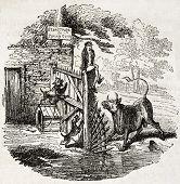 Antiga ilustração de um homem em uma situação delicada. Autor não identificado, publicado no Magasin Pitt