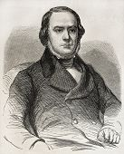Old engraved portrait of Daniele Manin, Italian statesman from Venice. Hero of Italian unification m